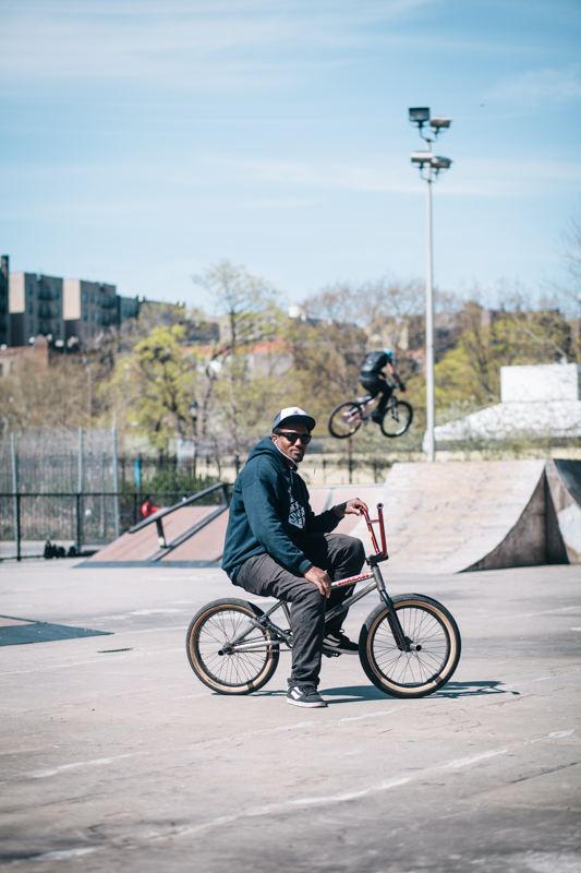 rides a FIt Edwin Delarosa photographed at E. 164th St. and River Ave., The Bronx riding at Mullaly Park