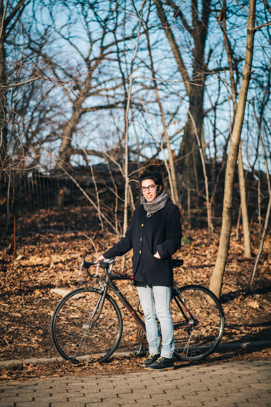 """rides a bicycle purchased off Craigslist (""""probably a Cannondale"""") 18-speed photographed in Prospect Park by the 4th St. entrance, Brooklyn en route to sit in the park and read"""