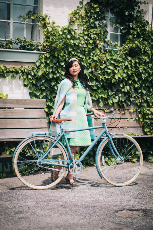 vintage cycling cape, bike in a skirt, bike pretty, bikepretty, pretty bike, girls on bikes, outfit ideas, cycle style, fashion bike, bike fashion, bike chic, bike style, girl on bike, cycle chic, vintage style, plaid cape, sea foam green, mint, green