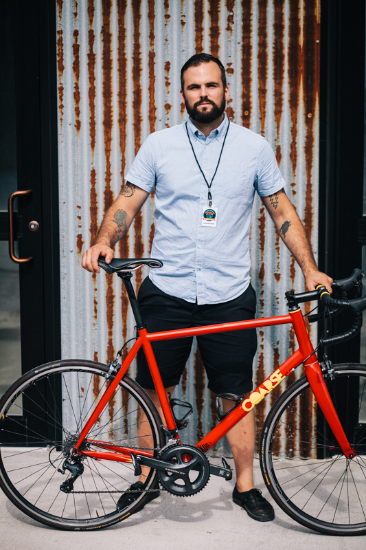 Billy with a Coarse Fabrications Aero 22-speed steel road bike  photographed at the Knockdown Center in Maspeth, Queens  while exhibiting at the Bike Cult Hand-Built Bike Show