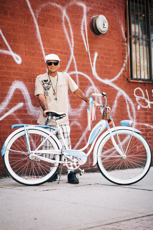 RIdes a vintage Schwinn Starlet Photographed at Havemeyer St. and Grand St., Brooklyn hanging out at the Bicycle Fetish Day block party