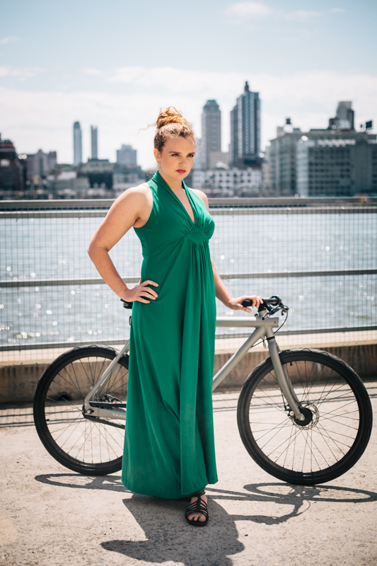 rides a Vanmoof bike  photographed at Bike Expo New York for Momentum Mag's Be Chic BE NY Fashion Show Look Book 2014