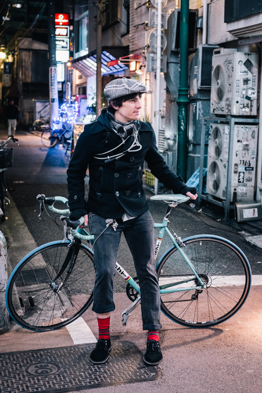 rides a Bianchi Imola 10-speed in Tokyo